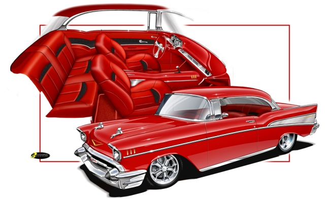 custom chevy 57 interior brockmeyer interiors eric rod street artwork webers